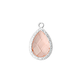 Cubic Zirconia facethanger druppel light peach met zilver