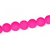 Glaskraal met rubber coating 8mm fluo fluor Neon roze