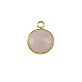 Facethanger Rose quartz rond met goud rose kwarts