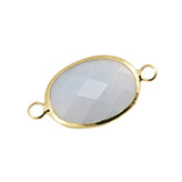 Crystal glas tussenstukken ovaal Light grey - gold