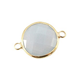 Crystal glas tussenstukken rond Light grey - gold