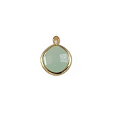 SQ Glas facethanger Rond 10mm Licht Jade Opal in Goud