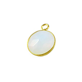SQ Glas facethanger Rond 10mm White Opal in Goud