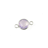 Crystal glas tussenstukken rond 8mm Crystal Light rose opal-silver