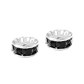 Strass rondel kraal 6mm Silver-black