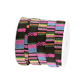 Aztec koord plat 10mm Zwart hot pink