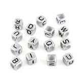 Letterkraal kubus zilver met zwarte letter