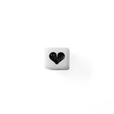 Kubus kraal kunststof wit met zwart hartje