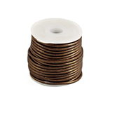 DQ Designer leer koord 2mm rond Dark Copper Brown metallic