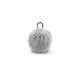 Pompom bedels met oog faux fur 12mm Light grey-silver