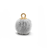 Pompom bedels met oog faux fur 15mm Light grey-gold