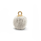 Pompom bedels met oog faux fur 15mm Beige-gold