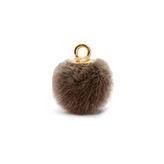 Pompom bedels met oog faux fur 15mm Brown-gold