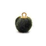 Pompom bedels met oog faux fur 15mm Olive grey-gold