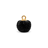 Pompom bedels met oog glitter 12mm Black-gold