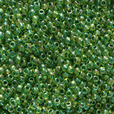 Toho Round Seed Beads #1829 11/0 inside-color rainbow jonquil/forest green-lined TR-11-1829