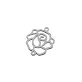 Tussenzetsel filigrain roosje rhodium